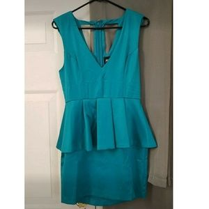 NWOT NastyGal teal Peplum cocktail dress